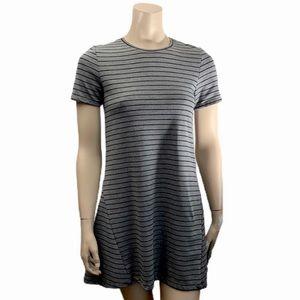 Zara Trafaluc Grey Striped T-Shirt Dress